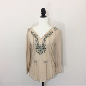 Anthropologie XS Tiny Embroidered Peasant Top